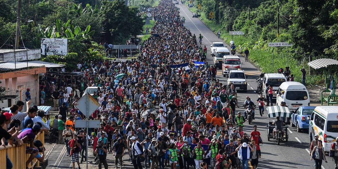 marching in caravan